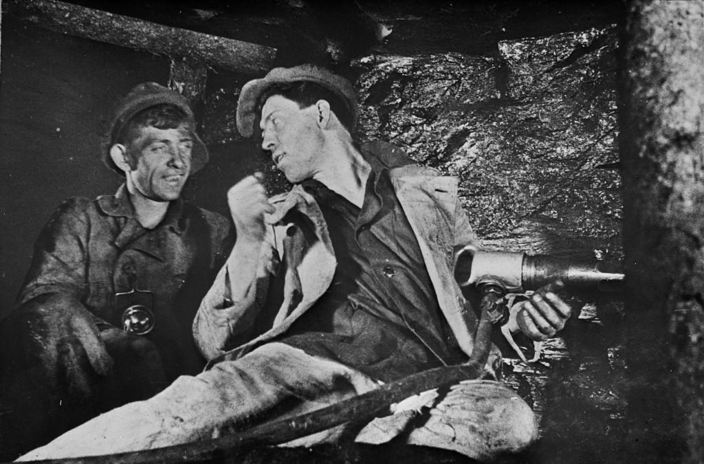 Propaganda photo of Soviet Hero of Socialist Labor Alexey Stakhanov (on the right)