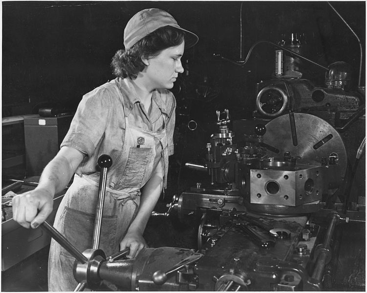 Lathe operator at a Western aircraft plant