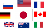 Flags around Japanese Flag