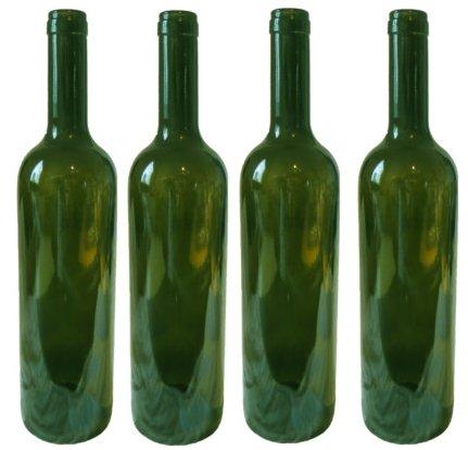 Four empty green wine bottles for Green wine bottles