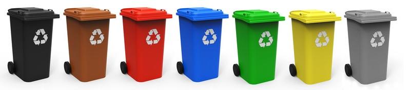Seven Trash Cans