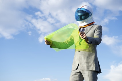 Futuristic Astronaut Businessman Using Flexible Display Tablet