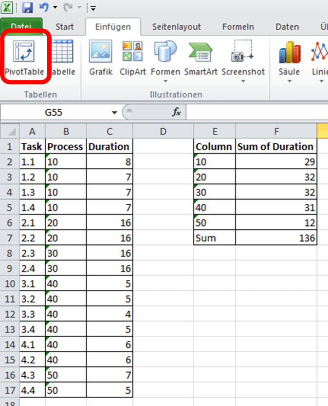Line Balancing in Excel