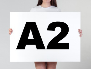 Woman holding a blank A2 poster
