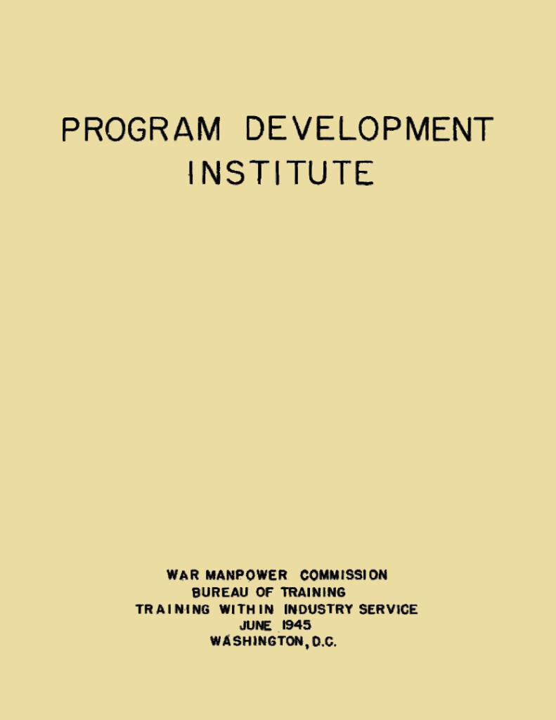 Program Development Institute Cover