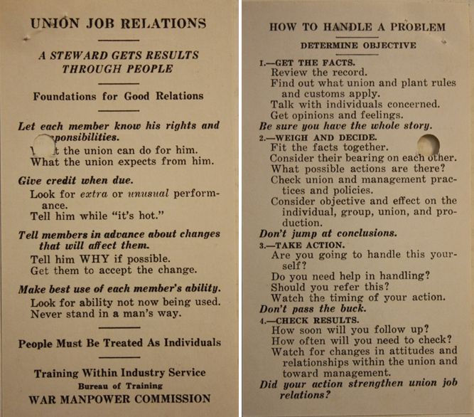 Union Job Relations Card
