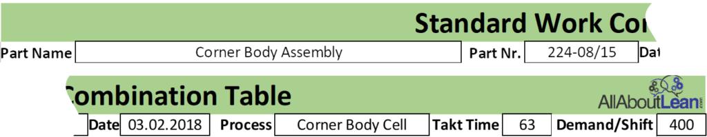 Toyota Standard Work Combination Header
