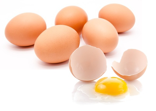 Five whole one broken eggs