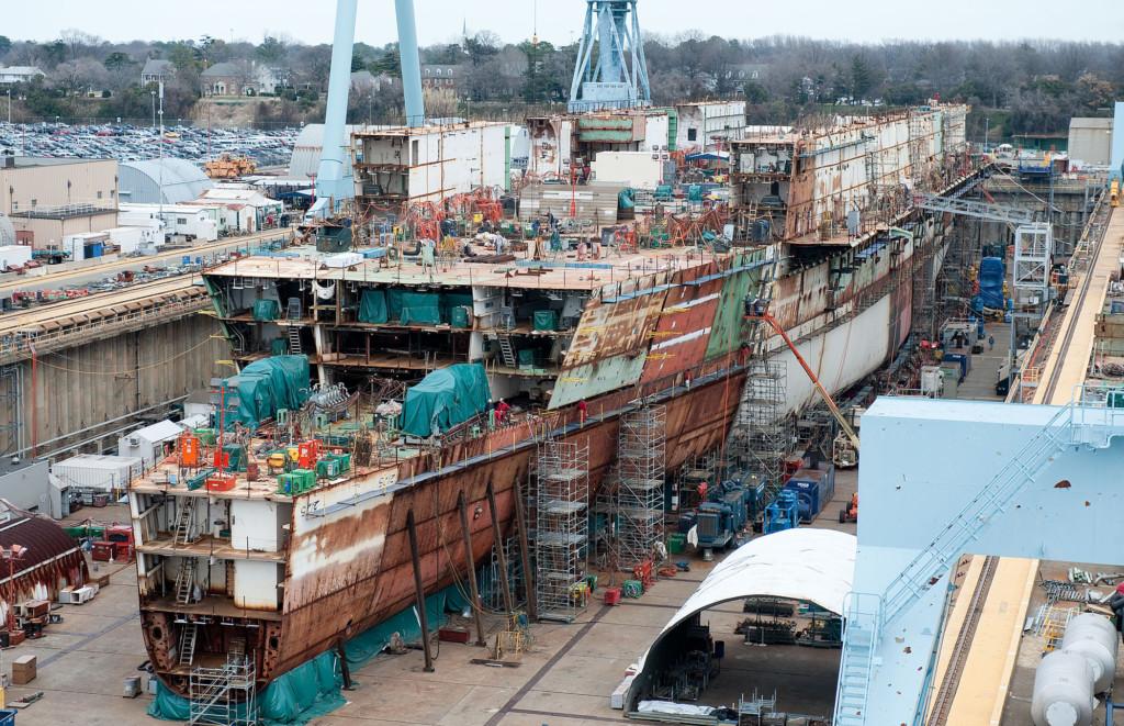 USS Gerald R Ford CVN 78 under construction