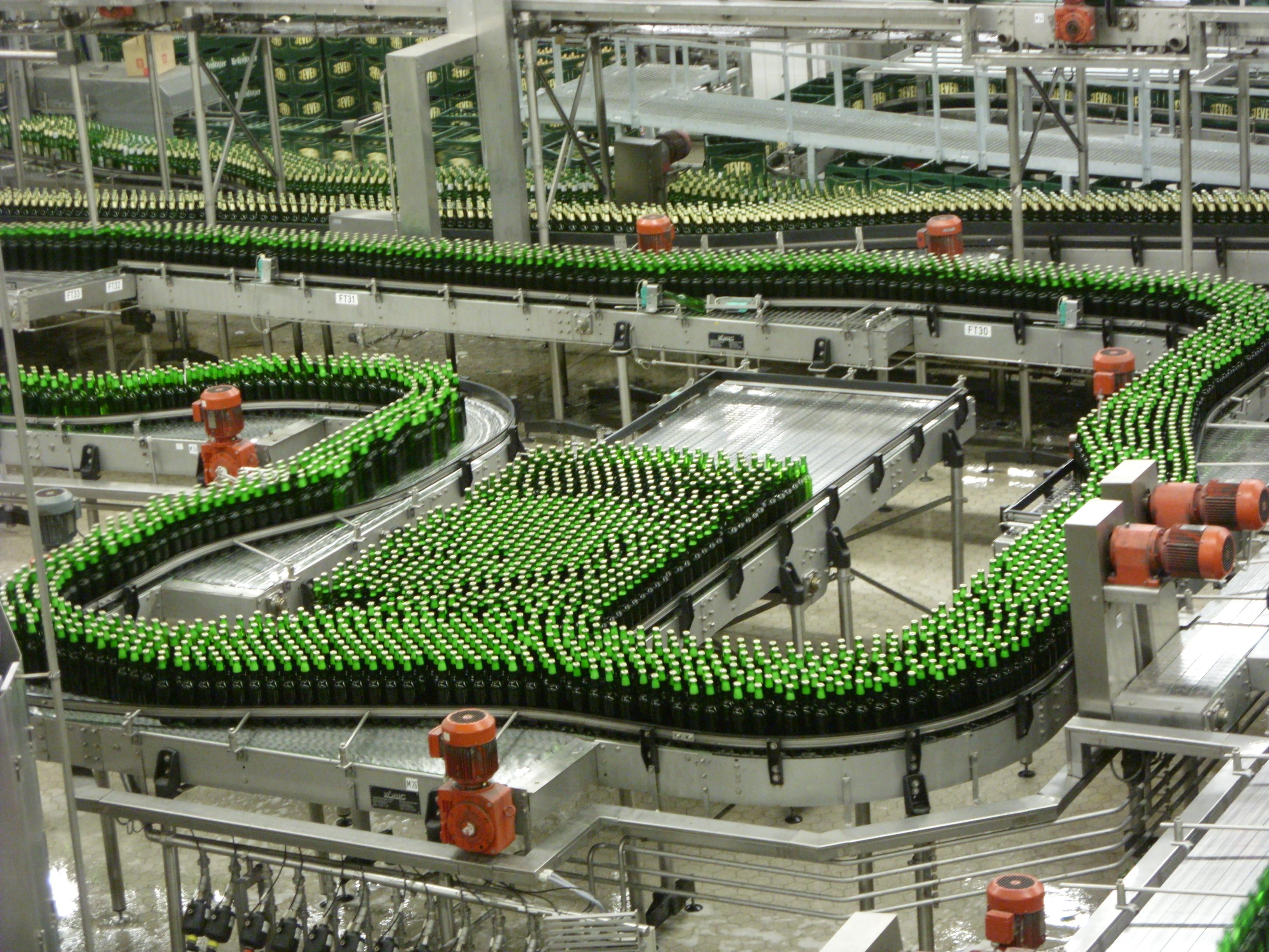 Conveyor belt brewery bottles