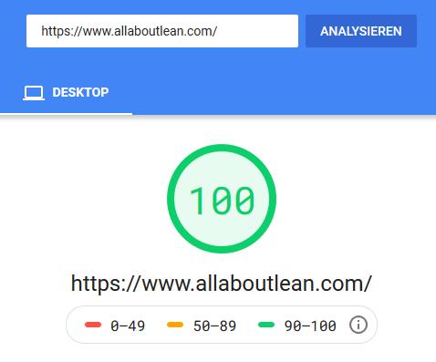 AllAboutLean.com Google PageSpeedInsight