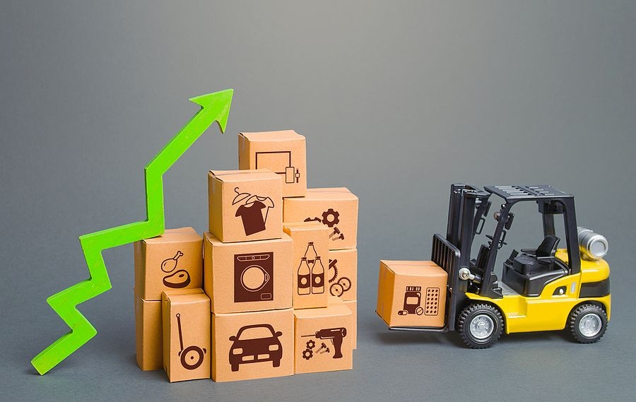 Forklift Next To Boxes And Green Up Arrow