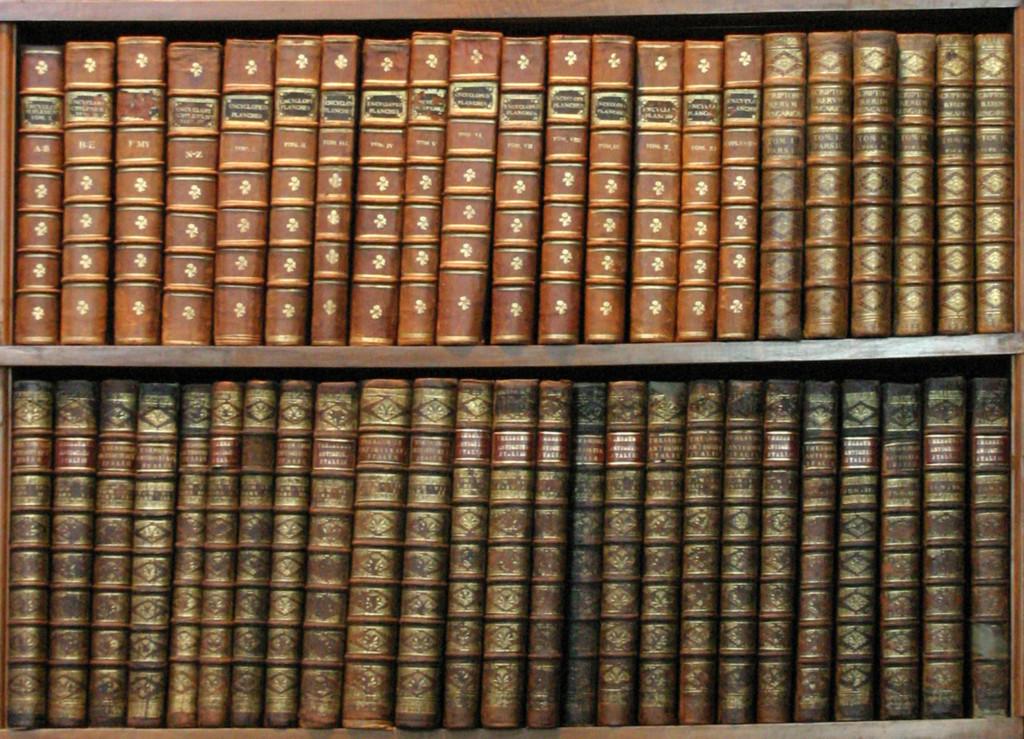 Brown Books on a Shelf